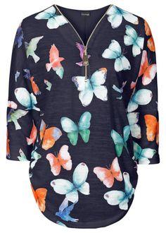 Blusa com estampa de borboleta azul meia manga com decote V                                                                                                                                                                                 Mais