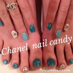 Chanel nail candy matching gel manicure and pedicure nail art by #mobileluxnails.com #lulu