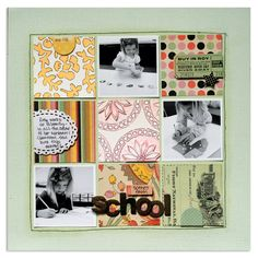 A classic grid that incorporates photos, patterned paper, and a few squares. #stamping #layouts #scrapbooking