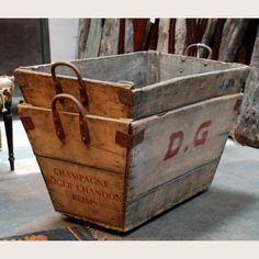 England's Prime Resource for Architectural Antiques, Salvage and Curiosities Wooden Crate Boxes, Vintage Wooden Crates, Wood Boxes, Wood Home Decor, Wooden Decor, Old Baskets, Vintage Farmhouse Decor, Architectural Antiques, Rattan Basket