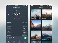 Conceptual clock and photos app screens as a part of the Conceptual Mobile OS project.