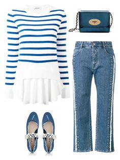 """""""Blue & White"""" by musicfriend1 ❤ liked on Polyvore featuring STELLA McCARTNEY, Dondup, Miu Miu and Mulberry"""