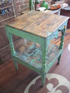 rustic kitchen island - love the old knobs for hanging towels! Distressed Furniture, Repurposed Furniture, Rustic Furniture, Painted Furniture, Diy Furniture, Mexican Furniture, Furniture Outlet, Furniture Projects, Furniture Makeover