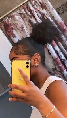 Hair Ponytail Styles, Sleek Ponytail, Curly Hair Styles, Natural Hair Styles, Black Girl Braided Hairstyles, Slick Hairstyles, Baddie Hairstyles, Edges Hair, Dyed Natural Hair