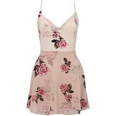 Ariana Grande For Lipsy Rose Print Layered Skater Dress (1,260 MXN) ❤ liked on Polyvore featuring dresses, vestidos, short dresses, robes, floral-print dresses, rose print dress, floral dresses, pink dress and slip dress