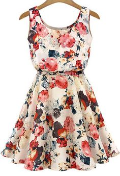 Apricot Sleeveless Floral Pleated Chiffon Dress