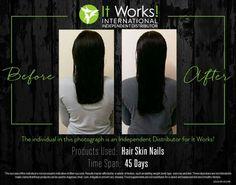 Voyez les résultats obtenus avec le Hair, Skin & Nails, Au bout de 45 jours seulement 41€ /mois Contactez moi garfieldlydie@gmail.com Facebook https://www.facebook.com/groups/1708243256054139/ Boutique lydieleblay.itworkseu.com