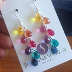 Cascade multicolor earrings Rainbow earrings by SueanneShirzay