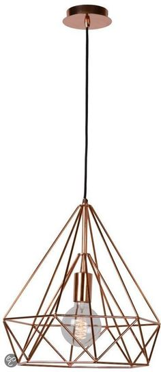 Hanglamp voor boven eettafel, Lucide Ricky Hanglamp - Rood koper, www.bol.com