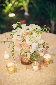 Elegant blush wedding centerpiece idea; Featured photographer: Richard Bell Photography