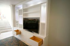 Media Bookcase with storage drawers in Richmond Living Room Wall Units, Living Room Cabinets, Living Room Storage, Living Room Designs, Media Furniture, Types Of Furniture, Media Storage Unit, Media Unit, Front Rooms