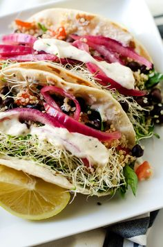Quinoa Wraps with Lemon Tahini Sauce @udisglutenfree #glutenfree #vegan option