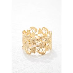 Forever 21 Ornate Filigree Bracelet ($8.90) ❤ liked on Polyvore featuring jewelry, bracelets, forever 21 jewelry, forever 21, filigree jewelry, polish jewelry and forever 21 bangle
