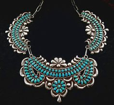 Zuni Necklace by Warren Ondelacy set with  natural, gem quality Villa Grove turquoise cabochons. ca 1940's