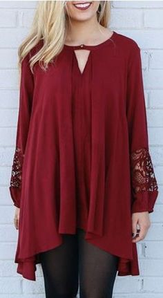 Love the Lace Slleves! Elegant Wine Red Round Collar Hollow Long Sleeve Pullover #Wine #Red #Lace #Casual #Weekend #Draped #Pullover #Fashion