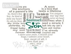 Son Art Son Heart Word Art Gift for Son Son by ByMyWordCreations