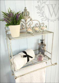 Shabby Chic Metal Scroll Shelf Hanging Storage Towel Rail Cream Unit Distressed   eBay