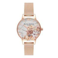 Olivia Burton Marble Florals Mesh Strap Watch, In Rose Floral Olivia Burton, Best Watches For Men, Fancy Watches, Trendy Watches, Women's Watches, Casual Watches, Wrist Watches, Jewelry Watches, Rose Watch