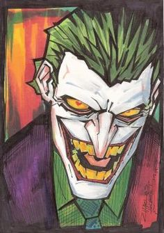 here& a Bad Photo of a Joker piece i did w/ Coloured Sharpies during the Chicago Comic Con. 11 coloured sharpies were in this piece the paper was bristol pad paper -tools- Joker Y Harley Quinn, Joker Dc, Joker Comic, Rare Comic Books, Jokers Wild, Im Batman, Batman Stuff, Batman Robin, Superman