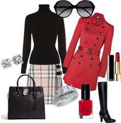 """""""rouge et noir"""" by yanezvieyra on Polyvore"""