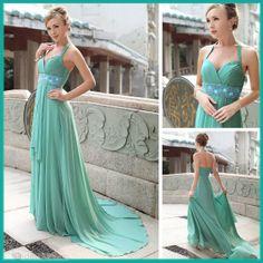A-Line Halter Neckline Sleeveless Floor-length Prom Dresses.  Love the color!!!