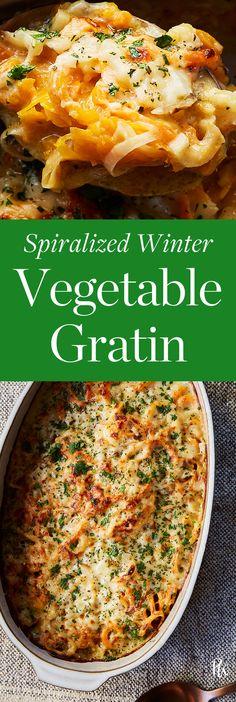 Spiralized Winter Vegetable Gratin #veggies #vegetablegratin #vegetarian