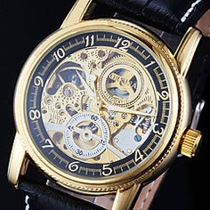 Men's Watch Auto-Mechanical Watch Gold Hollow Engraving Elegant PU Band. Grab substantial discounts up to 50% Off at Light in the Box using Coupons & Promo Codes