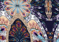Oppulent Feather Print Rayon Voile
