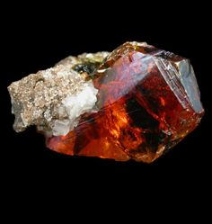 Red Sphalerite in Limestone matrix / Redlands Quarry, Niagara Falls, Niagara County, New York