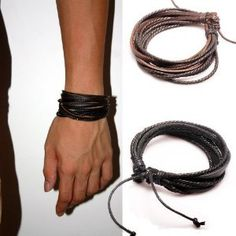 Original Tribe 2-pack Leather Black & Brown Bracelets - Fashion Adjustable Leather Wristband and Rope Cuff Bracelet - Great for Men, Women, Teens, Boys, Girls Sl1 Leather Bracelet,http://www.amazon.com/dp/B00FF9UY7U/ref=cm_sw_r_pi_dp_MC.Osb15XTJ6WP9R