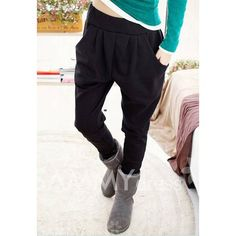 $7.46 Casual Solid Color Comfortable And Warm Fitted Cotton Blend Harem Pants For Women