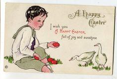 Vintage Easter vintage postcard, Easter Greetings, Easter chicks, boy feeding ducks by sharonfostervintage on Etsy