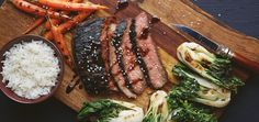 Juicy marinated flank steak with carrots and choi sum on the grill, give them a wonderful charred flavor. Your Chef'd box has ingredients and recipes for you to cook.