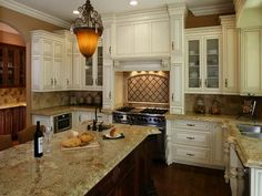 Antique White Cabinets Light Granite Antique Black Island My Next Kitchen Will Look Like This In Love Ideas For The House Pinterest Antique White