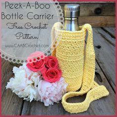 Crochet water bottle carrier social