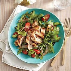 Grilled Lemon-Dijon Chicken Thighs with Arugula Salad Recipe | CookingLight.com