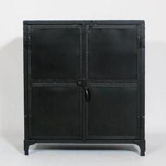 buffet metal noir 2 portes plateau bois colore achat vente buffet - Bahut Noir Bois
