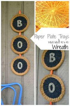 Paper plate trays upcycled as Halloween decor