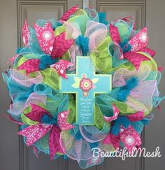 Cross Spring Colors Deco Mesh Wreath - The Lord Your God Will Be With You Wherever You Go