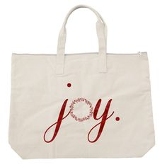 Perfect Project Bag! Over sized large zippered cotton natural tote bag for the holidays. Features JOY printed in a beautiful water color direct to bag using water-based