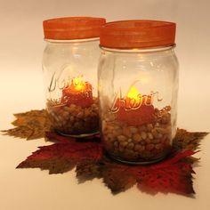 Mason jars and flameless candles present endless fall décor opportunities. #Fall Fall Mason Jars, Mason Jar Candles, Mason Jar Lamp, Fall Harvest, Autumn, Fall Decorating, Seasonal Decor, Favors, Thanksgiving