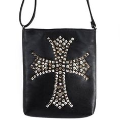 Click Here and Buy it On Amazon.com $29.99 Amazon.com: New Arrival Fashion Unique Bling Bling Golden Rivet Studded Cross Solid (Large Size) Messanger Bag / Crossbody Bag in Black: Clothing