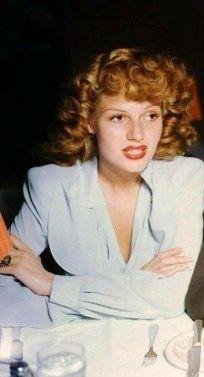 Rita Hayworth beautiful color photo taken at the Hollywood Canteen