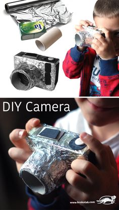 DIY Cardboard camera for kids - Do it yourself – a compact camera out of a soap packaging, an empty toilet paper roll and aluminum foil. Cardboard Camera, Paper Camera, Cardboard Crafts, Cardboard Play, Toilet Paper Roll Crafts, Diy Paper, Diy For Kids, Crafts For Kids, Soap Packaging