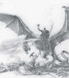 Illustration by Alan Lee. Alan Lee, Hobbit Art, O Hobbit, Dragon Medieval, Witch King Of Angmar, Minas Tirith, King Kong, Illustrations, Middle Earth