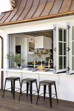 Indoor Outdoor Kitchen, Outdoor Kitchen Design, Interior Design Kitchen, Outdoor Living, Outdoor Kitchens, Outdoor Spaces, Outdoor Patios, Patio Design, Kitchen Window Bar