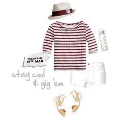 Sensible and chic game day outfit. Keep cool with your water bottle and stylish Aggie hat. The shorts and sandals match your 12th Man towel.