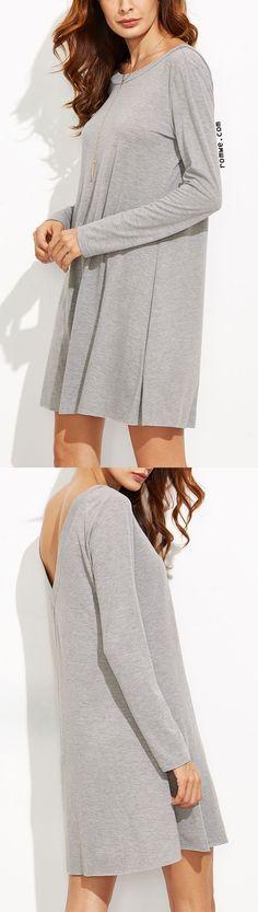 Heather Grey V Back Tee Dress