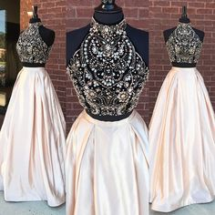 Gorgeous Two Piece Beads Long Prom Dress