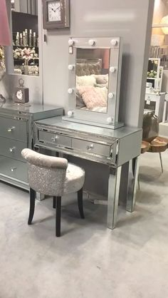Madison Grey Glass Mirrored 2 Drawer Console Table Dressing Table with sleek grey glass panels, clear mirror bevelled edges and sparkling crystal handles.